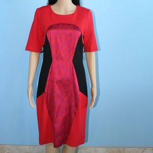 Etcetera Red & Black Tailored Fitted Dress Size 4